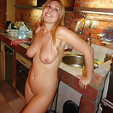 Mature ex girlfriend Sonya takes her clothes off in the kitchen and does naughty poses for the camera