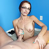 Skinny milf Ella Meadows doing handjob