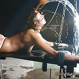 Tif is a perfect slave girl. She called me to ask if she could play in a bdsm movie. She likes to be deep throat fucked and to be strangled. I was a bit surprised I must say. I started with a warming up by giving her ass a nicer color. She can be whipped hard, she didn't give a sound. After that I put her in a very uncomfortable position, sitting on her pussy, ropes around her neck. With the smallest movement, she was strangling and hanging herself. In that position I played breath control. Then I put her head under water in another bondage. I gave her the deep throat fuck until she threw up. As a surprise I filled her mouth with pee. Good girl.