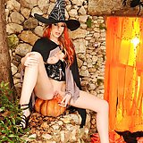 Hot witch Danielle Maye's Halloween masturbation with toy