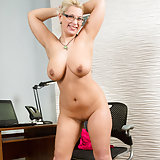 Juicy milf Luba Love stops working to take off her clothes so she can play with her all natural bigtit boobs. Continuing to get naked, the glasses wearing mom unveils her cock craving cunt and then slips her hand between her thighs to finger fuck her creamy snatch into orgasmic oblivion.