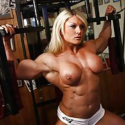 Naked female bodybuilder training