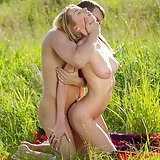 Making love on the meadow
