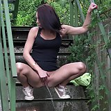 Gorgeous babe is desperate to pee outside