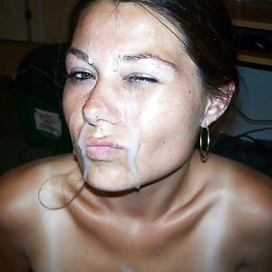 Hot girlfriend getting a facial after a nice blowjob