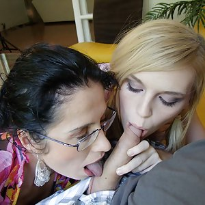 Milf Tatiana joined the couples and teached good cock sucking skills