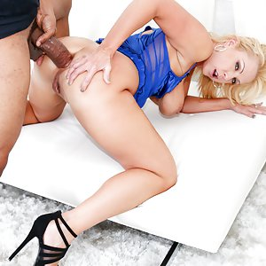 A busty blonde MILF with amazing pussy stretching talents, Naughty Alysha is ready to show us how much extreme penetration her expansive hole can take! This big-assed babe jams enormous dildos inside her cunt, pulling her labia apart like taffy so that her malleable vagina turns inside out! Her twat incredibly loose, Alysha sucks Shane Diesel's massive black member, and she receives an interracial pussy and ass pounding and fingering that makes her squirt in ecstasy. She swallows his messy cum.