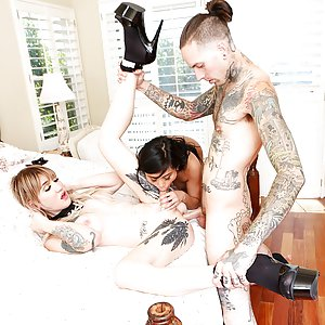 Ember Snow, Lena Kelly and Ruckus. Threesome wtih skinny inked trans