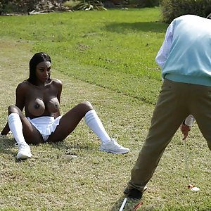 Black busty Brandi – hole in one