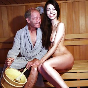 Arwen and grandpa fuck in the sauna