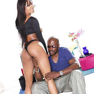 Elegant, longhaired black beauty Nadia Jay seduces director/stud Lexington Steele with a daylight outdoor striptease, displaying big boobs, tiny waist, and twerking her pretty ass. In heels, the lithe, leggy doll is taller than Lex. She strokes the huge erection pointing from his fly. By the open doorway her shaved snatch gets doggie-style attention. Lex oils her ass and she takes a cock ride, butt poppin', meaty pussy soaking his prick. Lex eats pussy and rims butthole between positions. She perches over his face for chewy cunnilingus. Nadia gasps as sweaty Lex pumps her, leg up on his shoulder. She kneels to lick balls and thick jism splashes her tits, tongue, eyes and up her nose.