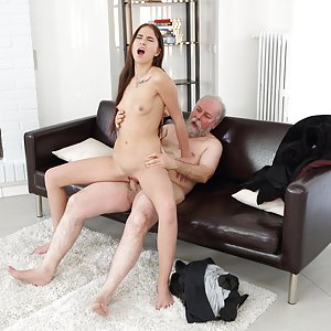 Old man catches a sexy babe shooting her own wet pussy