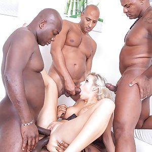 Blonde Nympho Ria Sunn Takes on 4 Studs