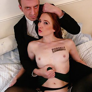 Ginger Slut Sabrina Jay Gets Throated and Coated with Cum