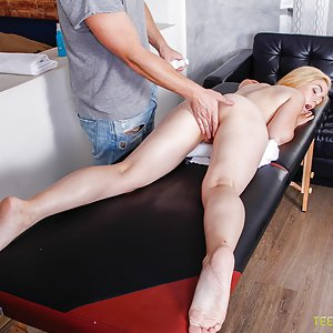 Cute blonde with blue eyes and naive charisma is fucked during massage