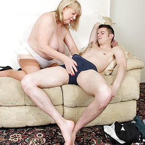 British big mama playing with her toy boy