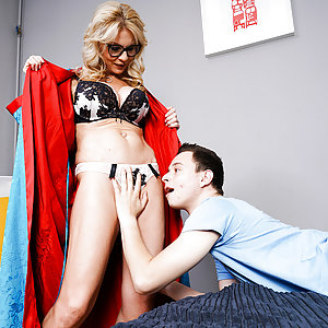 Mature lady and younger toy boy