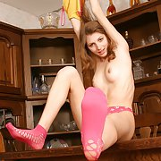 Young Juliette shows some nasty stretching, ass close-ups and flashes her virgin twat.