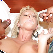 Alysha gets more than she can handle when two guys drench her in hot cum.