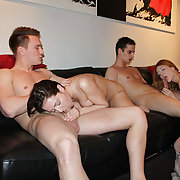 Two beauties are having foursome screw with two fellows