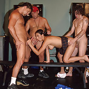 Silly Maria gets filled her every hole with stunents' hard throbbing cocks.