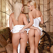 Blanche Bradburry & Vanda Lust Licking Pussy in the Barn