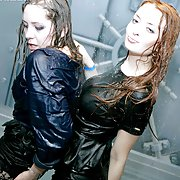 They are covered in water soaking wet and so horny together