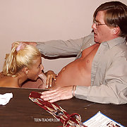 Horny blonde chick likes to suck her teacher's big red cock.