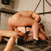 This mama gets a creampie from two guys