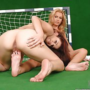 See these hot, lesbian soccer babes have sex after practice