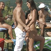 One big and horny outdoor orgy outside for everyone to see